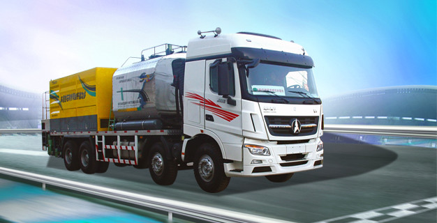 BEIBEN 8.5m3 Asphalt Tank Road Maintenance Equipment 12m3 Hopper Capacity / Synchronous Chip Sealer Truck